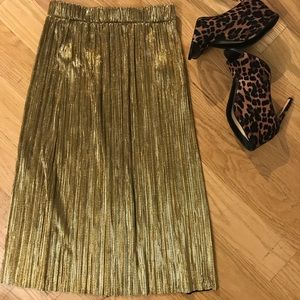 ZARA Gold Skirt with Elastic band at Waist